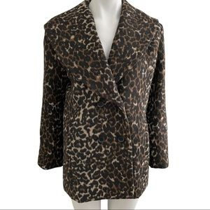 Hinge Double-Breasted Leopard Car Coat XS